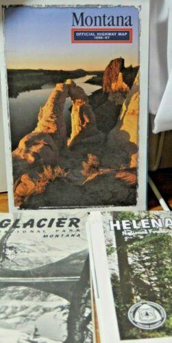 VTG Montana Maps Glacier National P.1958,Helena National Forest 1971 & MT.Hwy 97