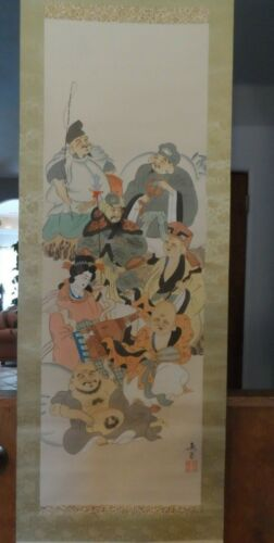 """Japanese Painting Scroll Wall Art Features People Figures Signed 18"""" x 70"""""""