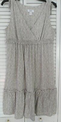 """WOMEN'S """"LOFT"""" BY ANN TAYLOR GREY/WHITE PRINT DRESS SZ M"""