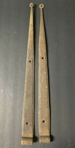 "Primitive Antique Hand Forged Iron Barn Door Strap Hinges 26"" Long x 2~ PAIR"