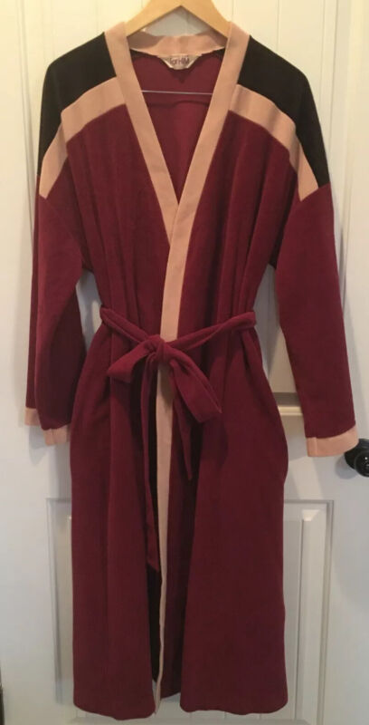 Vintage Vanity Fair For Him Mens Large Bathrobe Velour Brown Striped Robe