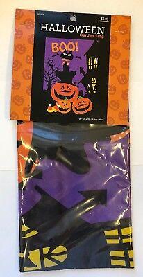 """Halloween Garden flag 12"""" x 18""""  indoor outdoor BOO! black c"""