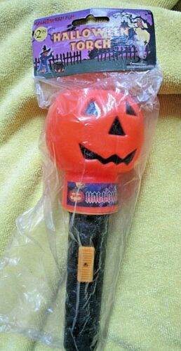 Vintage Halloween Torch Blow Mold Pumpkin Jack O Lantern Light Stick Flashlight