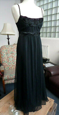 Monsoon 100% Silk Black Strappy Long Dress Party Evening Size UK 10