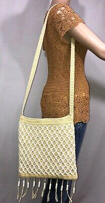 90s Vintage Twisted Knit Beaded Purse Shoulder Bag Bead Knitted Bags