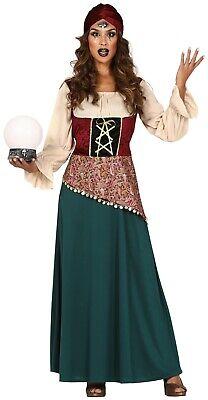 Damen Wahrsagerin Zigeuner Zirkus Halloween TV Ausgefallenes Mode Kostüm UK 8-16 (Ausgefallene Halloween-kostüme Uk)