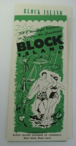 Vintage mid1950s BLOCK ISLAND, RI Chamber of Commerce Brochure & Information