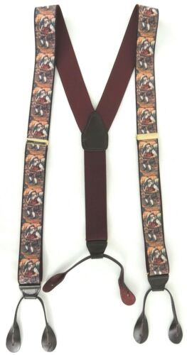 Vintage CAS Suspenders Braces Christmas Elastic Leather Button Maroon Germany