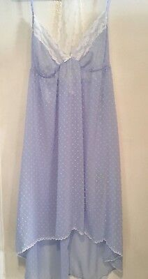 Chenille Gown (NWT PRETTY APT 9 LIGHT BLUE SEXY NIGHTGOWN ~ CHENILLE  DOTS W/LACE ~ SIZE LARGE )