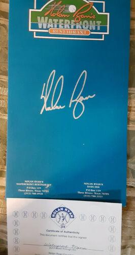 Nolan Ryan autographed Waterfront restaurant menu His Cert