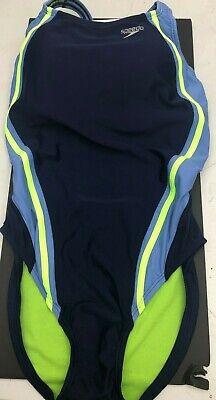 Speedo PowerFLEX Eco Quantum Splice One Piece Swimsuit Navy/Blue HydoBra, SZ 12