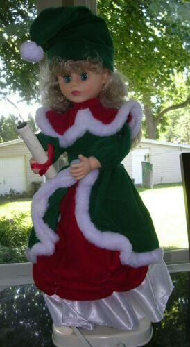 "#A ANIMATED ELECTRIC 24"" VICTORIAN CHRISTMAS CAROLER MOTION VINTAGE DOLL 1990"