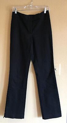 ELIE TAHARI 4 Black Dress Pants Side Leg Hooks Cotton Stretch Flat Front Trouser