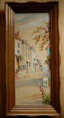 Eulalie Banks  Listed Vintage California Coastal Oil Ca Impressionist Folk Art