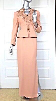Cache Suit Skirt Jacket size 10 Blush pink pale embellish Long sleeve Maxi dress ()