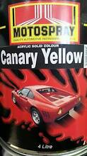 Motospray Acrylic Solid Colour Canary Yellow 4L Belmore Canterbury Area Preview