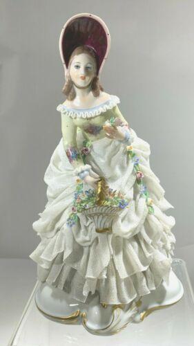 "Elegant Rare Capodimonte Lace Porcelain San Marco Figurine ""Lady s/Flower Basket"