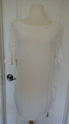 Stylewe Philis White Shift Pearls Detail Sleeves  Dress Sz Xl Cute   Stylish Nwt