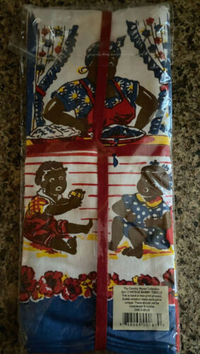 NEW OLD STOCK 2 Vintage Folk Black Americana Tea Kitchen Towels Country House