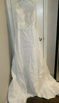 Gorgeous Alfred Angelo White Wedding Dress New With Tags Beaded Size 8