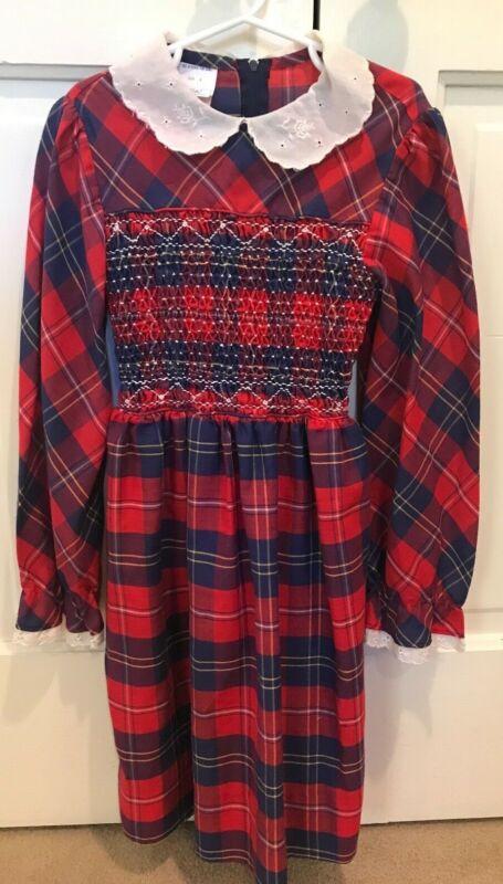 Vintage Polly Flinders Hand Smocked Apron Dress Red Blue Plaid Size 8 EUC Sweet!
