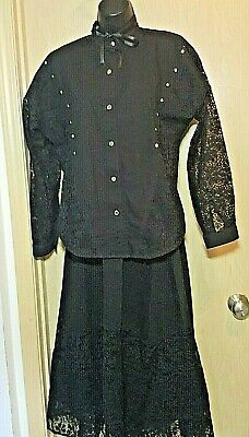 Sassa Black Western Skirt Blouse Set Studs Lace Sheer M Cosplay Festival USA 80s
