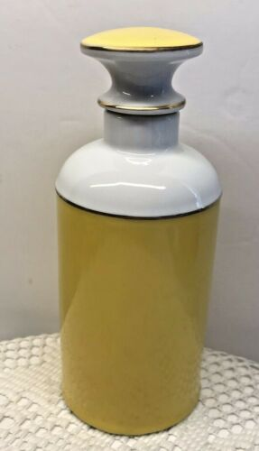 Vintage Yellow Ceramic Art Deco Perfume Bottle 14K Gold Trim 10 oz