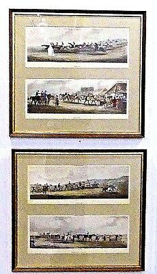 4 Antique Engravings By Sutherland After Alken Hand Colored Aquatints Equestrian