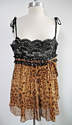 NEW DOLCE & GABBANA leopard print black lace top blouse Italian size 46 NWOT
