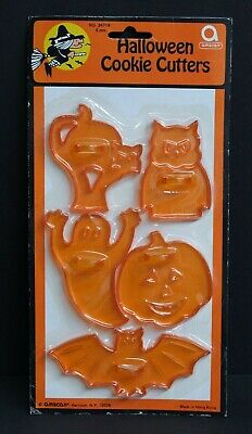 NIP Vintage Amscan Halloween 5pc Cookie Cutter Set JOL/Pumpkin Ghost Bat Cat Owl