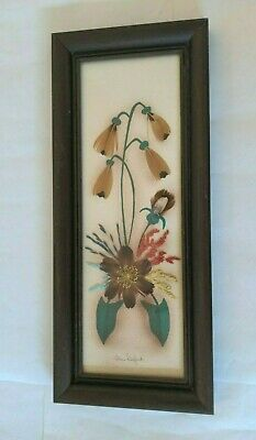 Prairie Pictures Framed Hand Made Artwork by Ellen Kiefert w Feather & Grasses
