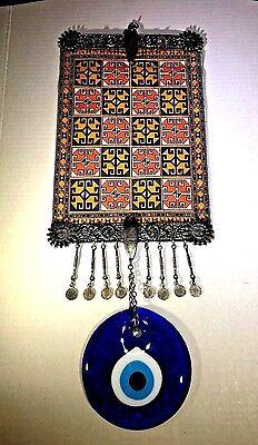 Unusual Vintage Evil Eye Wall Hanging Tapestry Turkish Deco Pendant Medallion
