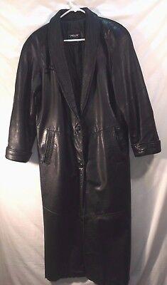 Ladies Pelle black leather full length dress overcoat,  nylon lined,MEDIUM