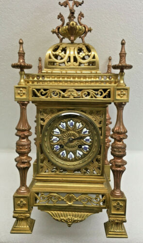 Stunning Antique 1880 French Japy Freres 2 Tone Brass Mantel Clock