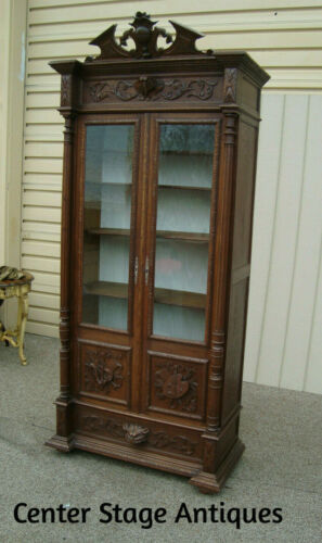 59986  Antique Oak French Bookcase Curio Cabinet China