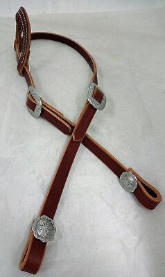 (One Ear Hermann Oak Ch Brown Bridle Leather Headstall Horse Jeremiah Watt Buckle)