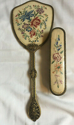 VINTAGE Dressing Table Vanity Petite Point Floral Embroidery Hand Mirror Brush