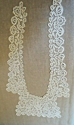 Antique long bobbin lace dress front, overlay collar. 24