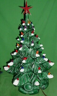 "Vintage Ceramic Christmas Tree Atlantic Mold 74 Light Up Flocked Snow 16"" & Base"