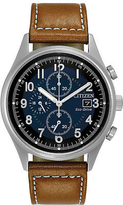 Citizen CA0621-05L Men's Eco Drive Chandler Leather Band Chronograph Watch