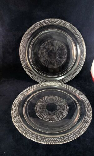 """2 Vintage Glass Dinner Plates Clear Beaded Bullseye 10"""" Hobnail"""