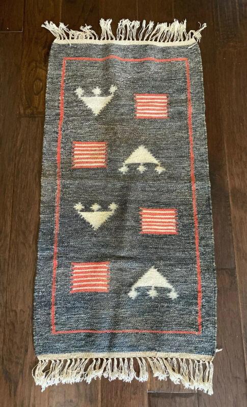 "Vintage Antique Native American Indian Woven Rug Textile 38""x19.75"""