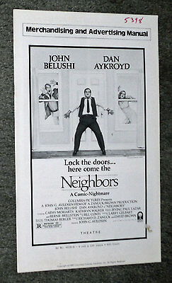 NEIGHBORS original movie 1980 pressbook JOHN BELUSHI/DAN AYKROYD/CATHY MORIARTY