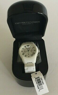 NEW Emporio Armani AR1403 White Tone Ceramic Chronograph Quartz Mens Wrist Watch