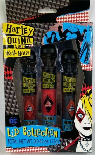 HARLEY QUINN & THE SKULL BAGS LIP COLLECTION SET OF 3 PIGMENTED LIP GLOSS TUBES