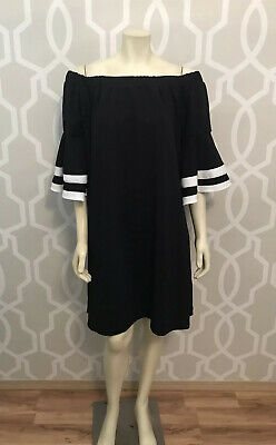 Love Squared Black White Bell Slv On Off Shoulder Sheath Dress Plus Size 3X NWT