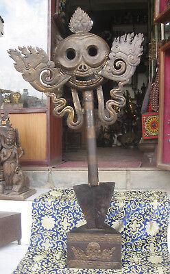 Huge 48 inches Tibetean Iron Tantrik Phurba Khatvanga With Stand