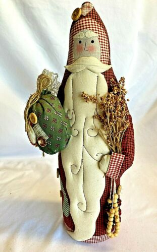 """Quilted and Beads Country Rustic Christmas Santa Claus 14"""" Tall"""
