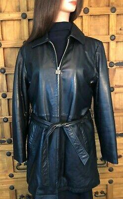 Black Leather Jacket Size Medium Three Quarter Length Three Quarter Length Jacket
