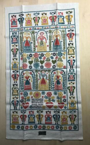 Vintage Pat Ahern Folk Sampler Motif Tea Towel Kay Dee Linen NOS Unused